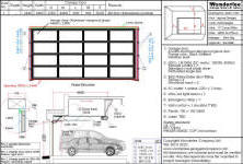 Shop drawing of 1-piece canopy garage door made with Aluminum and frosted tempered glasses