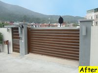 Stainless steel and wood slide gate