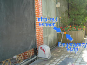 Safety equipment: infra-red sensor and emergency stop