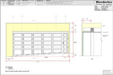 Drawing of 5.2m 1-piece garage door on a slope