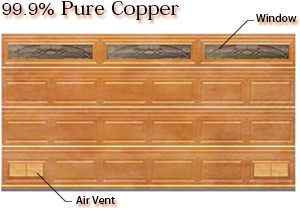 99.9% pure copper garage door with woodline panel, copper caming Vista window and matching air vents